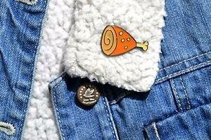 Ham enamel pin - kawaii trendy enamel ham drumstick pin badge brooch