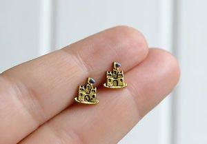 Castle earrings - kawaii handmade tiny enamel sand castle studs/posts