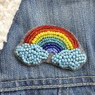 Rainbow brooch - handmade beaded cute fantasy rainbow kawaii trendy brooch pin