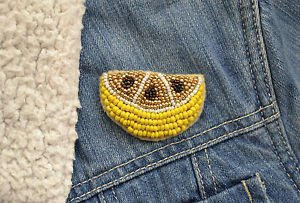 Lemon brooch - handmade beaded lemon tropical fruit kawaii trendy brooch pin