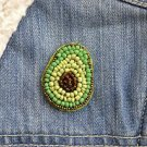Avocado brooch - handmade beaded avocado fruit kawaii trendy brooch pin
