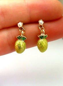 Pineapple earrings � trendy enamel dangle earrings