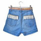 Festival denim shorts - up-cycled Indian ribbon trim custom jean denim shorts