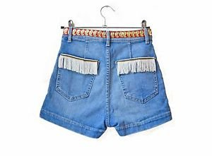Festival denim shorts - up-cycled Indian ribbon trim custom jean denim shorts