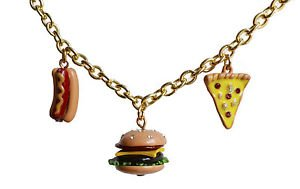 Hamburger bracelet - kawaii enamel burger hot dog pizza junk food charm bracelet