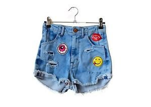 Festival denim shorts - up-cycled patch embroidery Desert Studio jean shorts