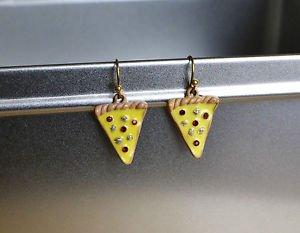 Pizza earrings - kawaii handmade tiny enamel pizza slice fast food junk food