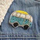 Camper van brooch - handmade beaded cute Kombi camper van caravan kawaii trendy