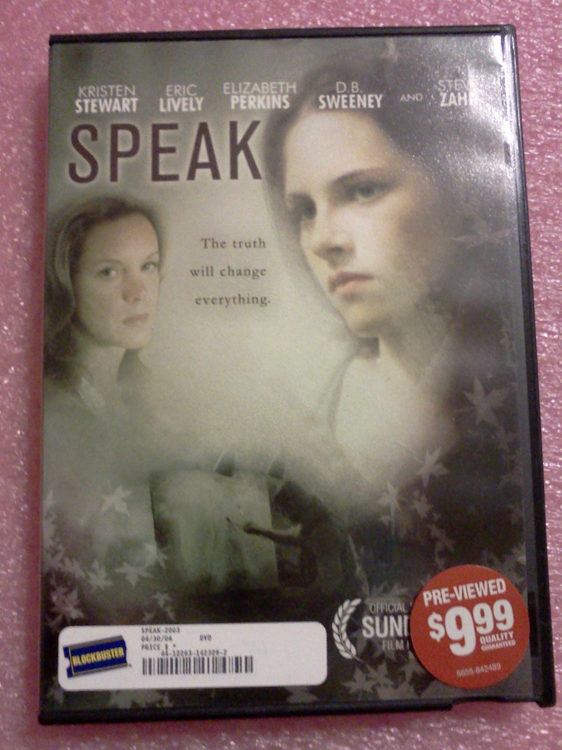 SPEAK~2004 SHOWTIME TV MOVIE~FYC DVD~KRISTEN STEWART, STEVE ZAHN~DATE RATE