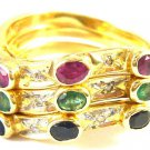 Stackable 14 kt gold ring with diamonds and gems