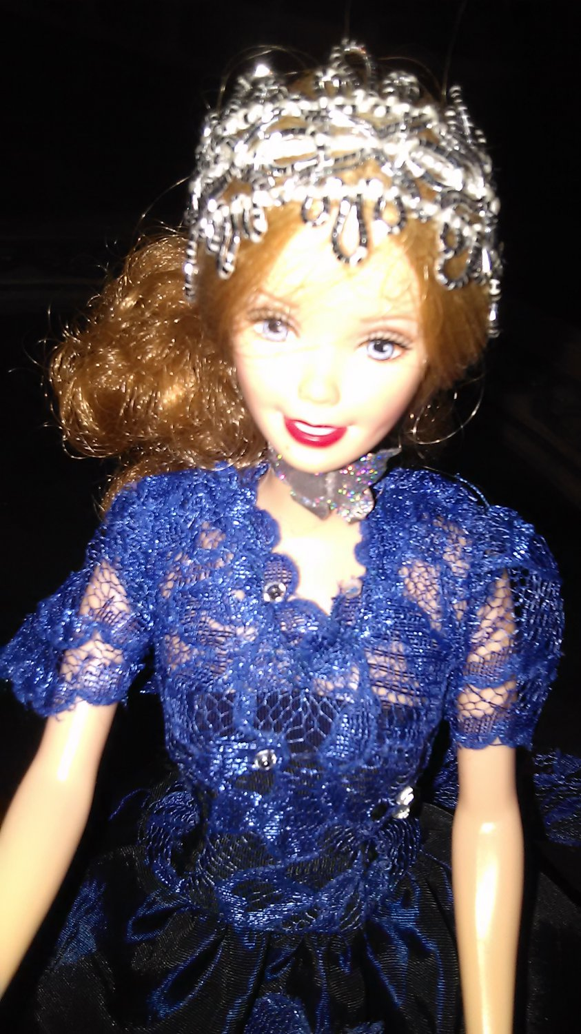 BARBIE MONACO PRINCESS Doll Fashion Handmade Party Wedding Outfit Navy Blue Lace Dress  GIFT