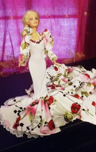Wedding Party Princess White/Red Flowers Bridal Clothes Dresses Grows Outfit for Barbie Doll