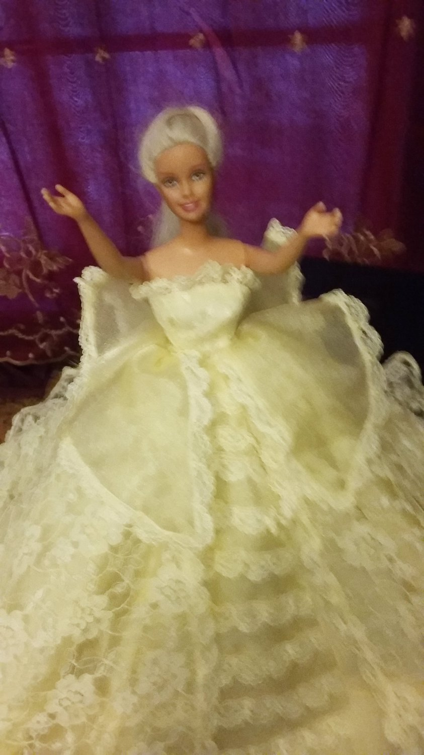 Barbie Doll Fashion Handmade Girls Gift Royalty Yellow Wedding Party Bridal Gown Dress Clothes