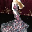 Barbie Red Bella Mermaid Handmade Dress OOAK.