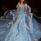 Barbie Doll Fashion Handmade Girls Gift Royalty Blue Wedding Party Bridal Gown Dress Clothes