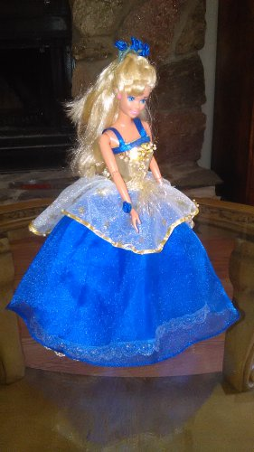 Barbie Doll Blue Handmade Royalty Princess Party Bridal Gown Dress Girls Gift Clothes