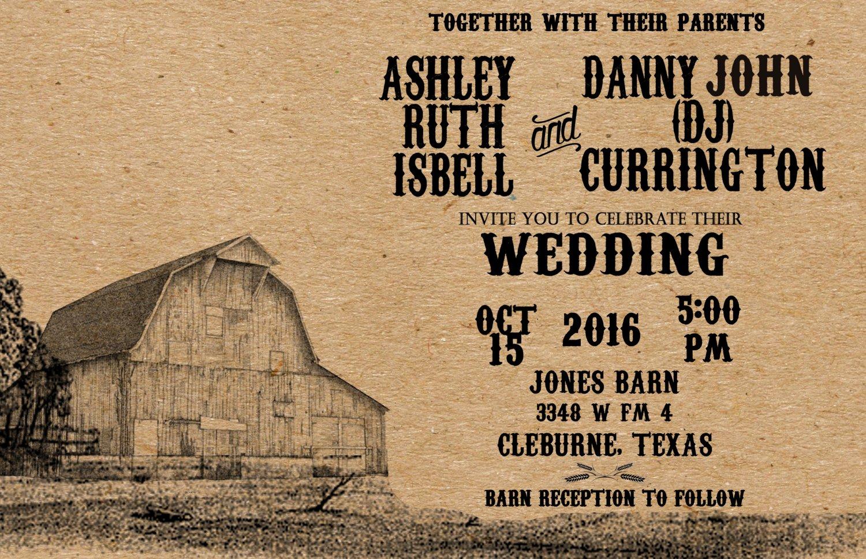 Country Wedding Invitations, Rustic Wedding Invitations Barn Wedding Invitations & RSVP