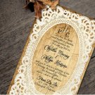 Rustic Wood and Lace Wedding Invitation & RSVP
