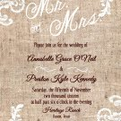 Burlap and White lace Wedding Invitation & RSVP