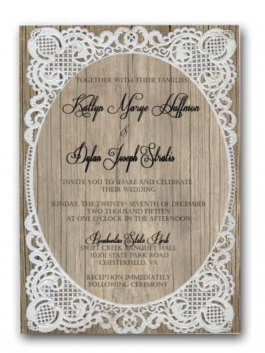 Barn Wood and Country Lace Rustic Wedding Invitation & RSVP