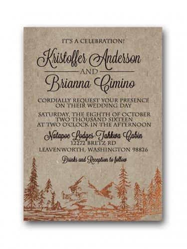 Copper Foil Mountains Wedding Invitation & RSVP