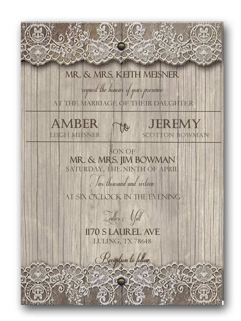 Country Affair Rustic Wedding Invitation & RSVP