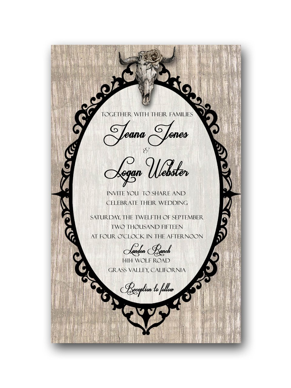Deer skull rustic wedding invitation rsvp for Wedding invitations 50 cents each