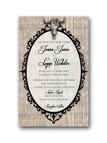 Deer Skull rustic Wedding Invitation & RSVP
