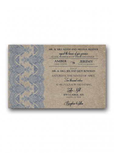 Dusty Blue and Tan  Wedding Invitation & RSVP