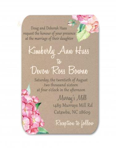 Floral Kraft Wedding Invitation & RSVP