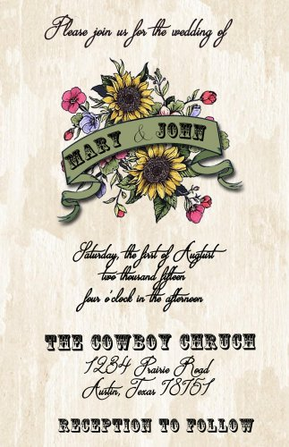 Rustic Flowers with Banner Wedding Invitation & RSVP