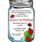 Ladybug's in a Mason Jar Birthday Invitations (sold in sets of 10)