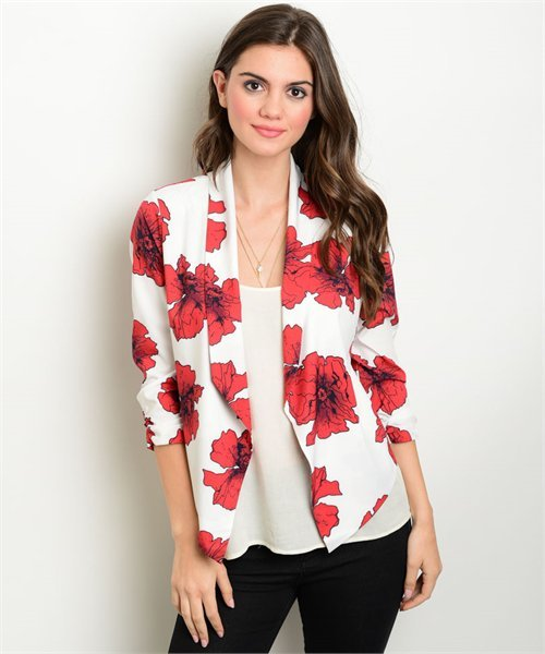 White and Red Open Front Floral Spring Blazer Jacket Size S