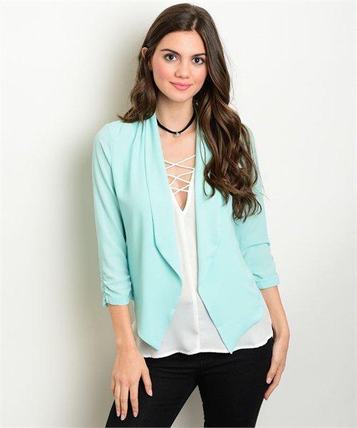 Aqua Textured Open Front Spring Blazer Jacket Size S