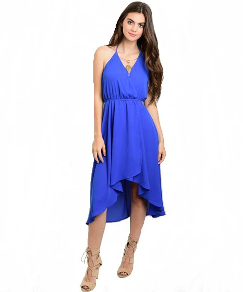 Royal Blue Hi-Low Cinched Waist Halter Dress W/ Neck Tie Size S