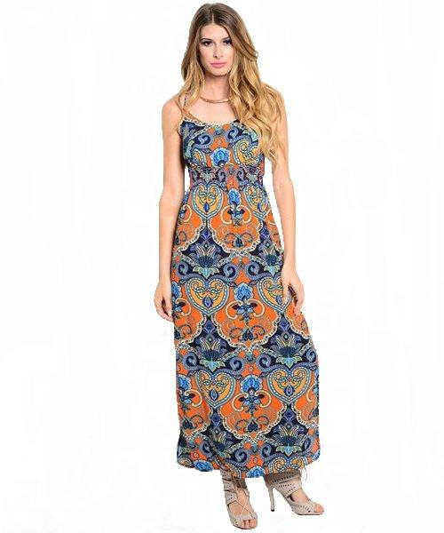 Orange and Blue Double Side Slit Smocked Empire Waist Maxi Dress Size S