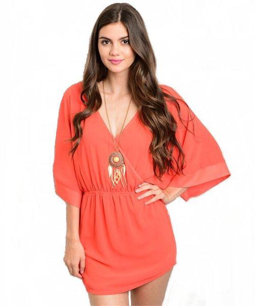 Tomato Dolman Sleeve V Neck Mini Dress Size S