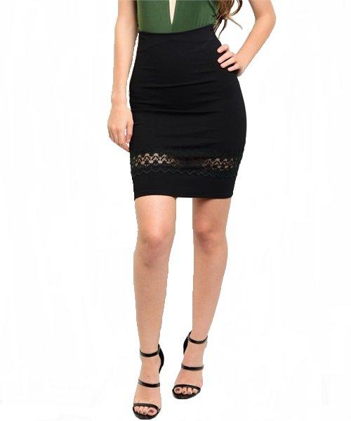 Black Lace Detail Bodycon Pencil Skirt Size S