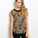 Brown Leopard Animal Print Blouse W/ Side Ruching Size S