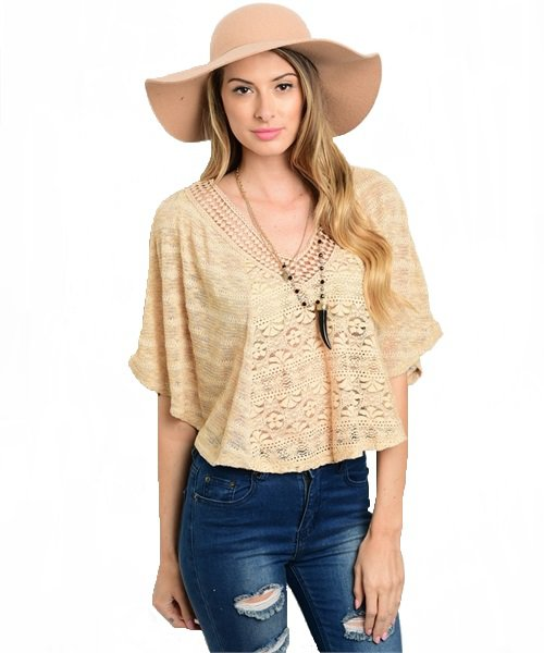 Beige Front and Back V-Neck Open Knit Crop Top Size S