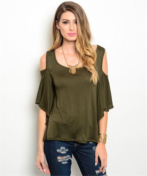 Olive Green Cold Shoulder Top W/ Flutter Sleeves Size S