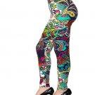 Red, Blue, Green, White Paisley Floral Print Full Length Soft Leggings