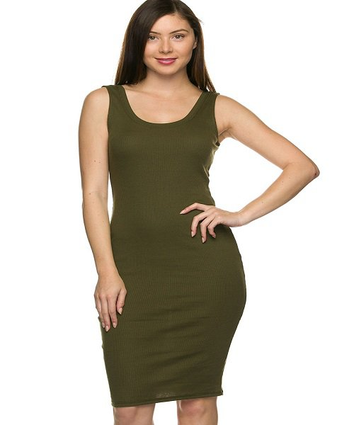 Olive Green Ribbed Midi Jersey Tank Dress Size S