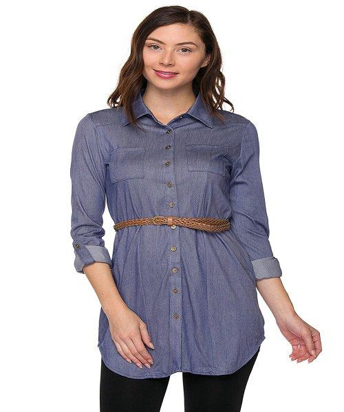 Denim Blue Belted Button Up Chambray Shirt Dress Size S
