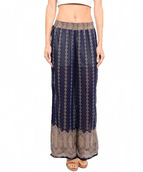 Blue and Mocha Printed Loose Fit Palazzo Pants Size M