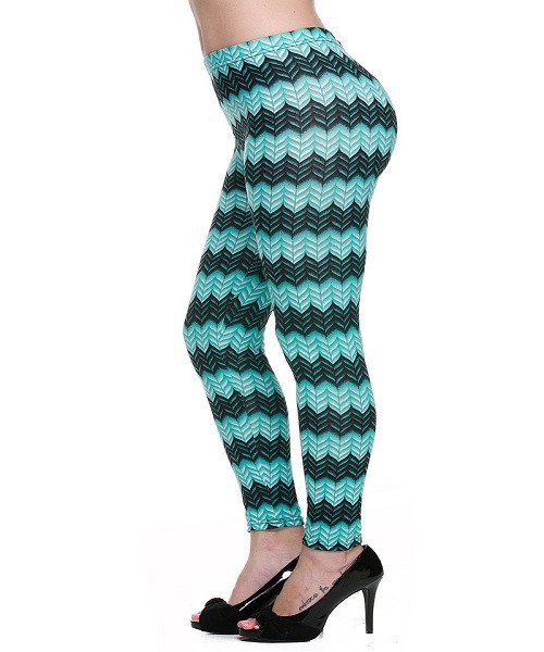 Mint and Black Chevron Print Knit Leggings Size L/XL
