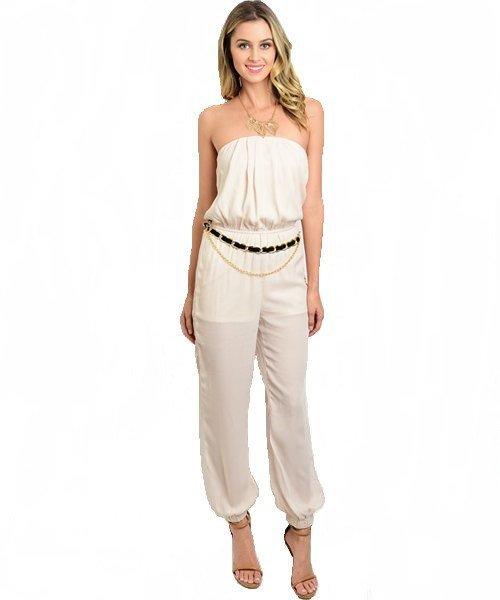 Ivory Halter Jumpsuit W/ Cinched Waist and Belt Size L