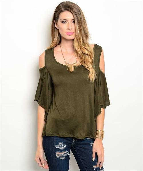 Olive Green Cold Shoulder Top W/ Flutter Sleeves Size M