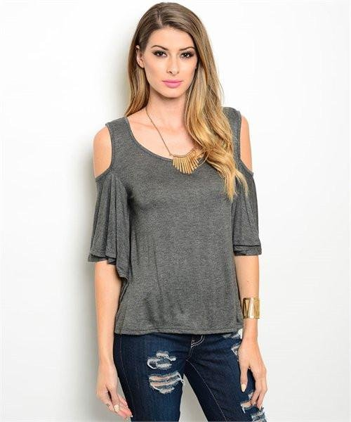 Charcoal Cold Shoulder Top W/ Flutter Sleeves Size S