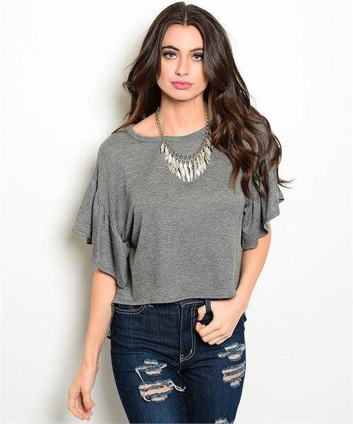 Dark Gray Flutter Sleeve High Low Top Size L